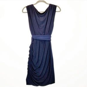 Eliza J ruched navy blue sleeveless cocktail dress